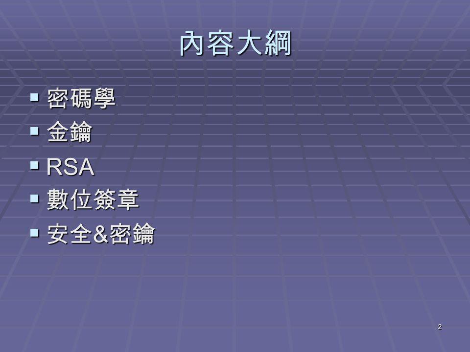 2 內容大綱  密碼學  金鑰  RSA  數位簽章  安全 & 密鑰