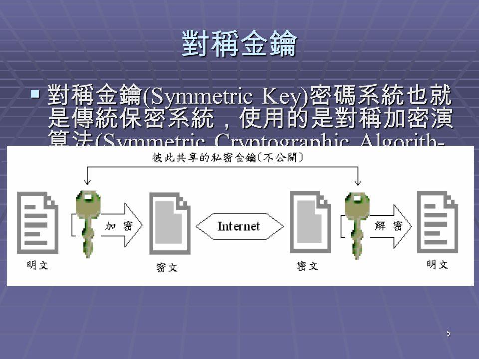 5 對稱金鑰  對稱金鑰 (Symmetric Key) 密碼系統也就 是傳統保密系統,使用的是對稱加密演 算法 (Symmetric Cryptographic Algorith- m) ,即加密端與解密端均要使用同一把 金鑰 ( 即 Secret Key) ,其優點是加解密的 速度快。  在對稱金鑰密碼系統中最著名者為 DES(Data EncryptionStandard)