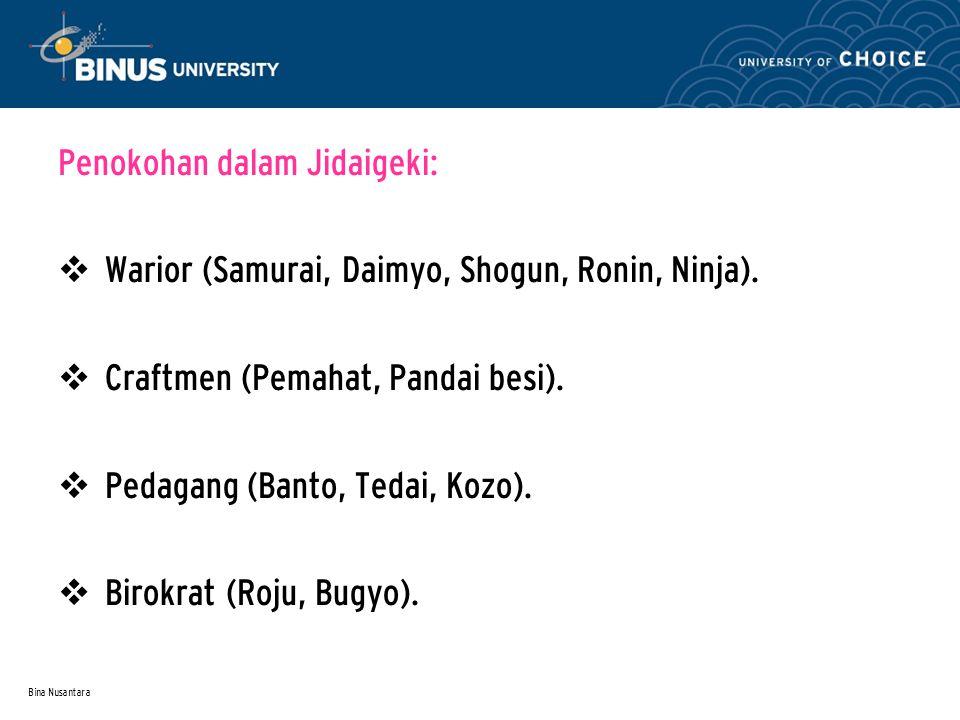 Bina Nusantara Penokohan dalam Jidaigeki:  Warior (Samurai, Daimyo, Shogun, Ronin, Ninja).