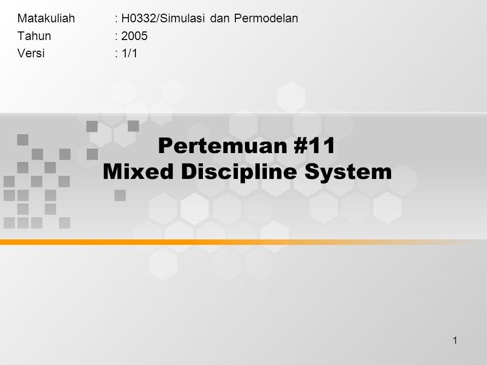 1 Pertemuan #11 Mixed Discipline System Matakuliah: H0332/Simulasi dan Permodelan Tahun: 2005 Versi: 1/1