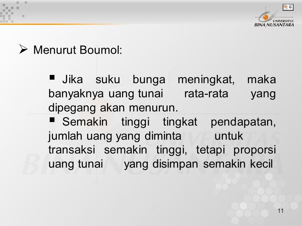 11  Menurut Boumol:  Jika suku bunga meningkat, maka banyaknya uang tunai rata-rata yang dipegang akan menurun.