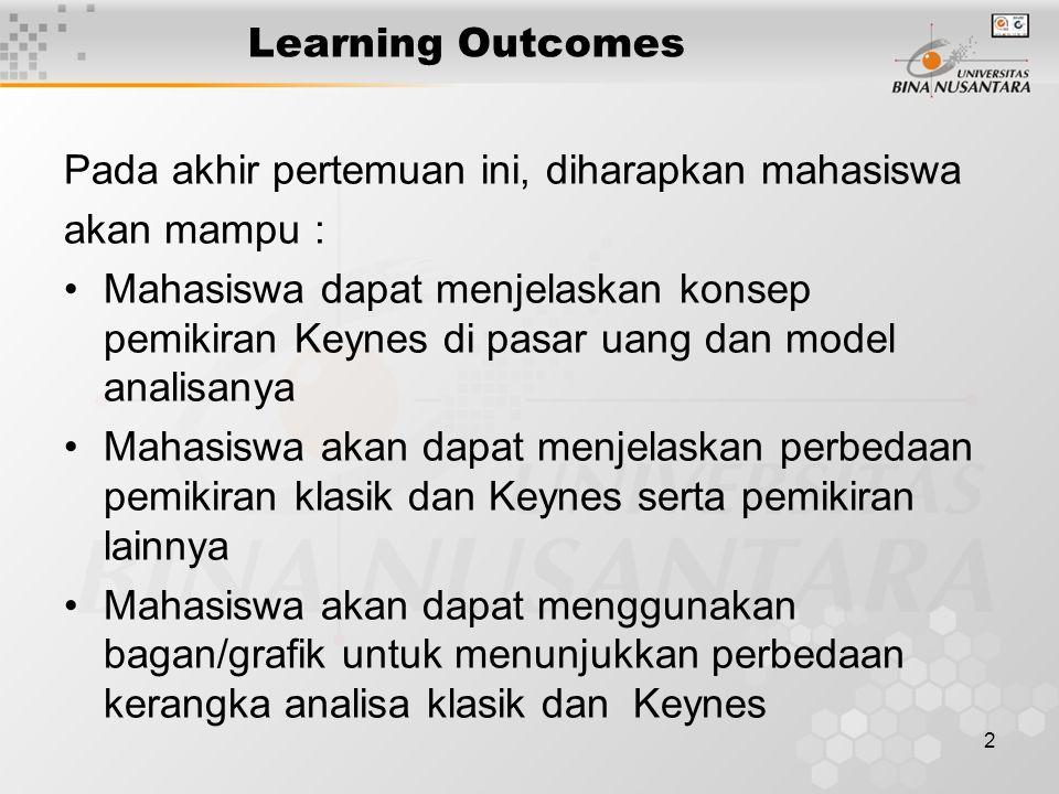 2 Learning Outcomes Pada akhir pertemuan ini, diharapkan mahasiswa akan mampu : Mahasiswa dapat menjelaskan konsep pemikiran Keynes di pasar uang dan model analisanya Mahasiswa akan dapat menjelaskan perbedaan pemikiran klasik dan Keynes serta pemikiran lainnya Mahasiswa akan dapat menggunakan bagan/grafik untuk menunjukkan perbedaan kerangka analisa klasik dan Keynes