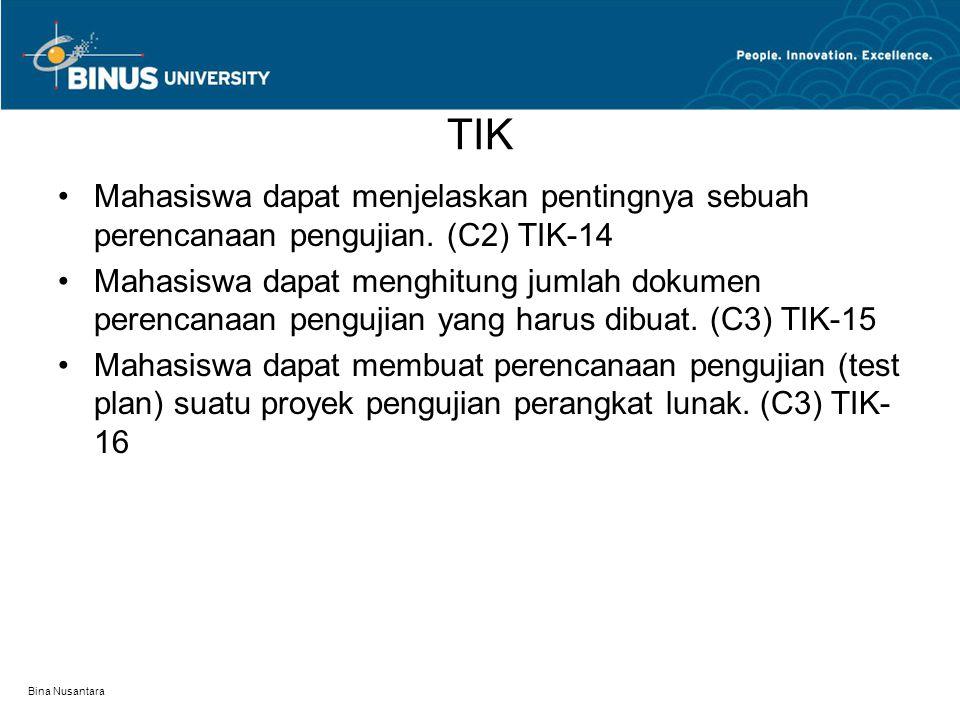 Bina Nusantara TIK Mahasiswa dapat menjelaskan pentingnya sebuah perencanaan pengujian. (C2) TIK-14 Mahasiswa dapat menghitung jumlah dokumen perencan