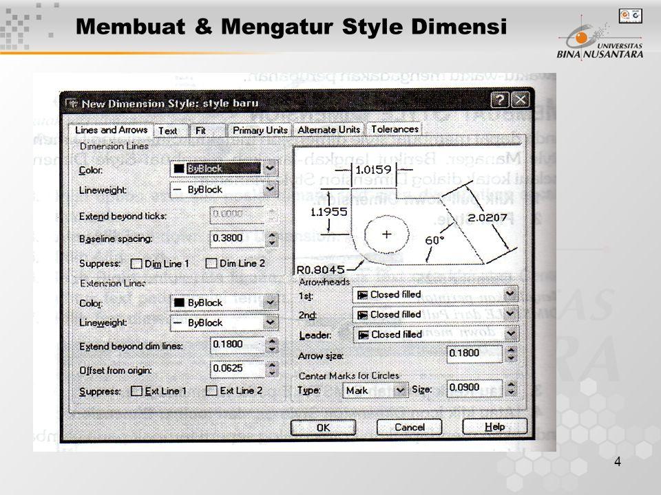 4 Membuat & Mengatur Style Dimensi