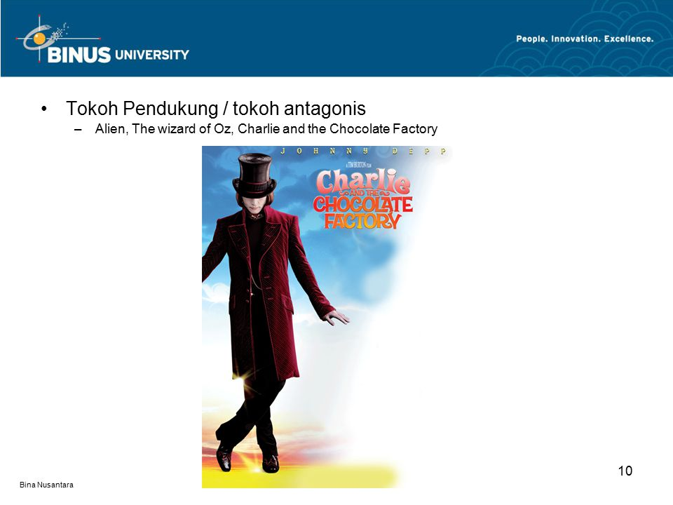 Bina Nusantara Tokoh Pendukung / tokoh antagonis –Alien, The wizard of Oz, Charlie and the Chocolate Factory 10