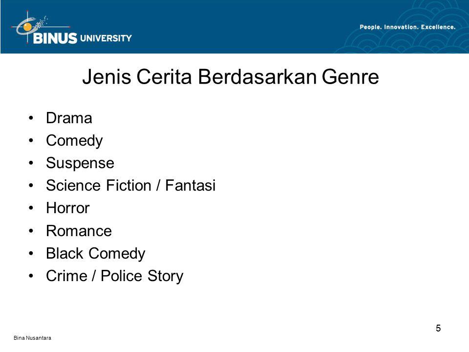Bina Nusantara Action Adventure Mystery Sport Films Tragedy Documentaries / Biographies Musicals … Jenis Cerita Berdasarkan Genre 6