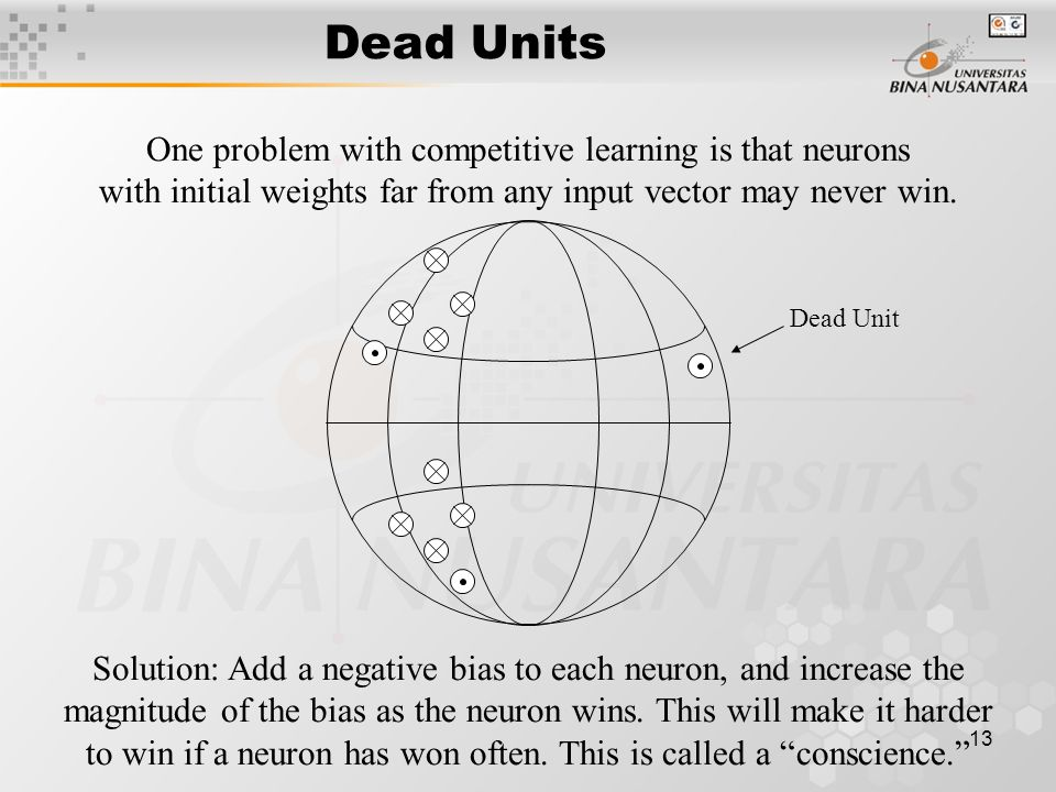 13 Dead Units One problem with competitive learning is that neurons with initial weights far from any input vector may never win.