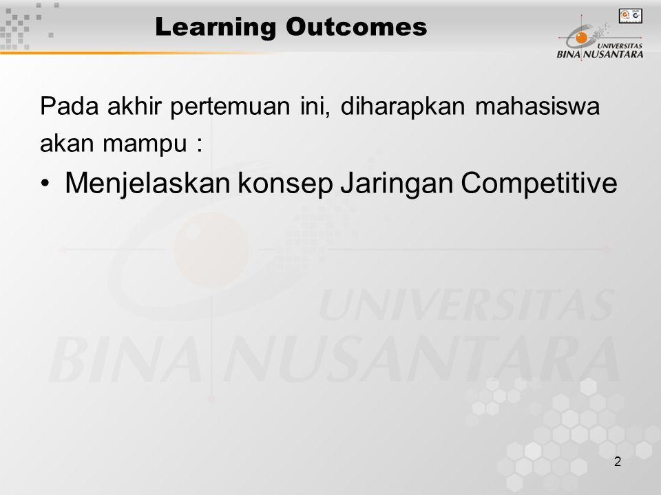 2 Learning Outcomes Pada akhir pertemuan ini, diharapkan mahasiswa akan mampu : Menjelaskan konsep Jaringan Competitive