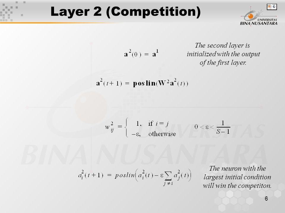 7 Competitive Layer nWp w 1 T w 2 T  w S T p w 1 T p w 2 T p  w S T p L 2  1 cos L 2  2  L 2  S ====