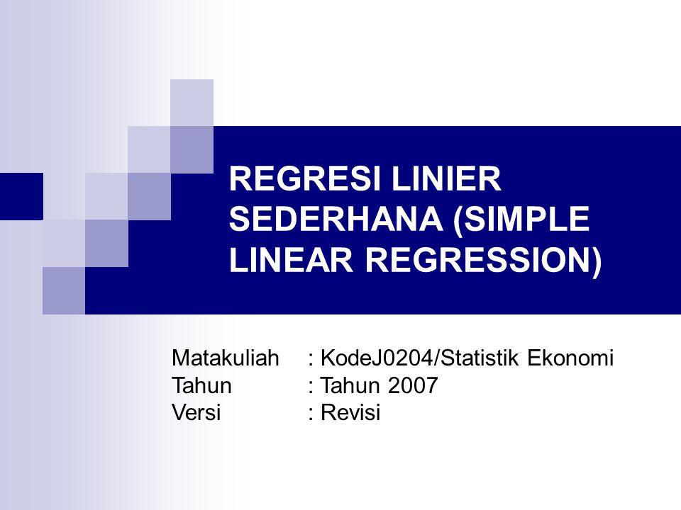 REGRESI LINIER SEDERHANA (SIMPLE LINEAR REGRESSION) CAKUPAN MATERI: Model Regresi Linier Sederhana Metode Kuadrat Terkecil (Least Squares Method) Koefisien Determinasi Asumsi Model Uji Keberartian (Testing for Significance) Estimasi dengan Persamaan Regresi Analisis Residual: Pemeriksaan Asumsi Model