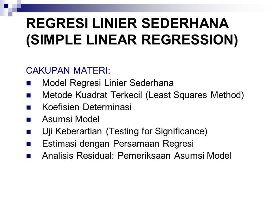 Model Regresi Linier Sederhana y =  0 +  1 x +  Persamaan Regresi Linier Sederhana E(y) =  0 +  1 x Estimasi Persamaan Regresi Linier Sederhana y = b 0 + b 1 x dimana y = variabel tak bebas (response/dependent variable) x = variabel bebas (predictor/independent variable)  = suku sisaan (error/residual)  0 = intercept (titik potong garis regresi dengan sumbu y)  1 = slope/kemiringan garis regresi ^ REGRESI LINIER SEDERHANA (SIMPLE LINEAR REGRESSION)