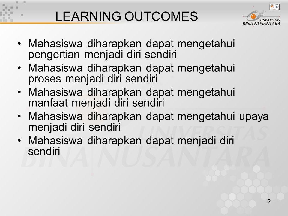 2 LEARNING OUTCOMES Mahasiswa diharapkan dapat mengetahui pengertian menjadi diri sendiri Mahasiswa diharapkan dapat mengetahui proses menjadi diri se