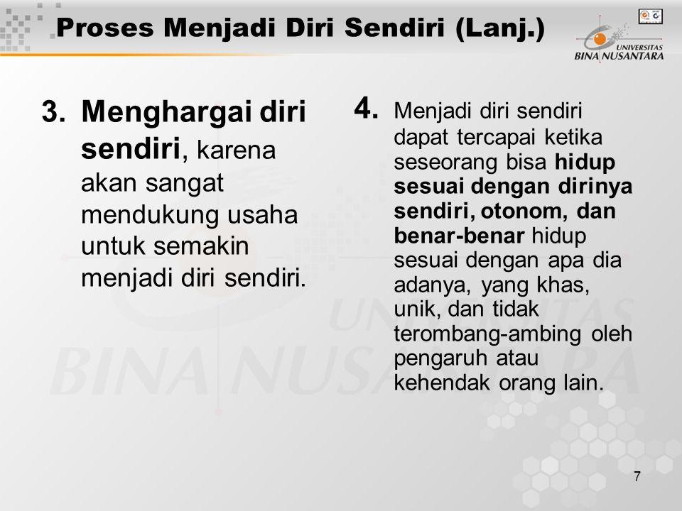 7 Proses Menjadi Diri Sendiri (Lanj.) 3.Menghargai diri sendiri, karena akan sangat mendukung usaha untuk semakin menjadi diri sendiri. 4. Menjadi dir