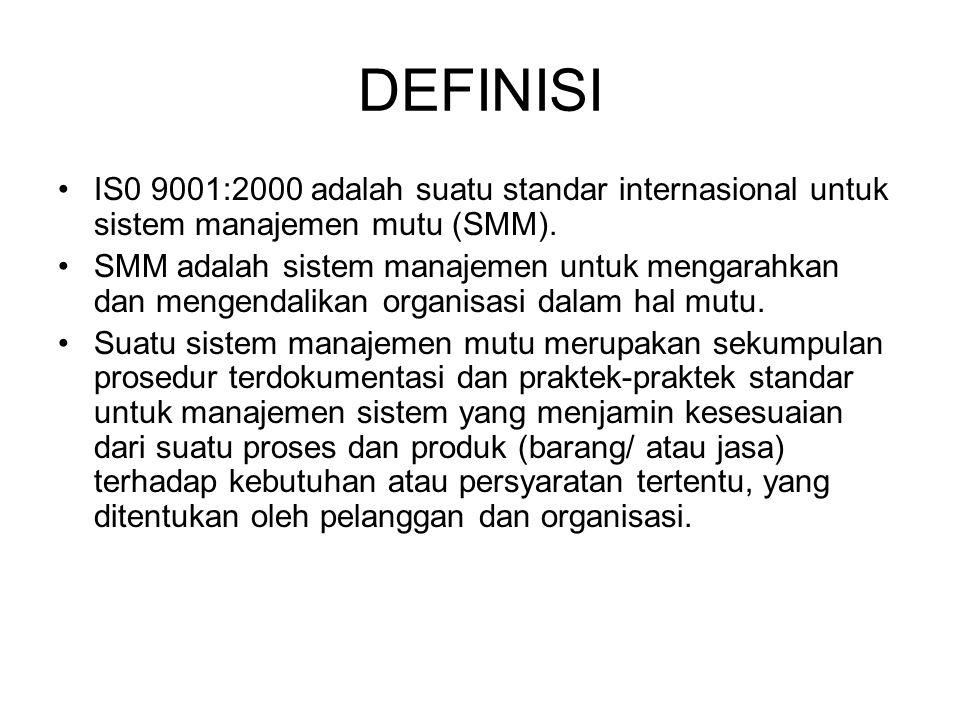 DEFINISI IS0 9001:2000 adalah suatu standar internasional untuk sistem manajemen mutu (SMM). SMM adalah sistem manajemen untuk mengarahkan dan mengend
