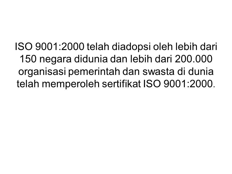 ISO 9001:2000 telah diadopsi oleh lebih dari 150 negara didunia dan lebih dari 200.000 organisasi pemerintah dan swasta di dunia telah memperoleh sert