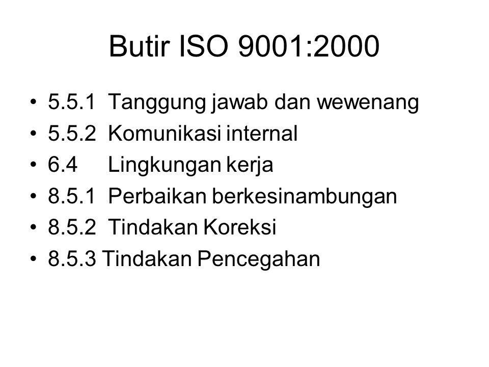 Butir ISO 9001:2000 5.5.1 Tanggung jawab dan wewenang 5.5.2 Komunikasi internal 6.4 Lingkungan kerja 8.5.1 Perbaikan berkesinambungan 8.5.2 Tindakan K
