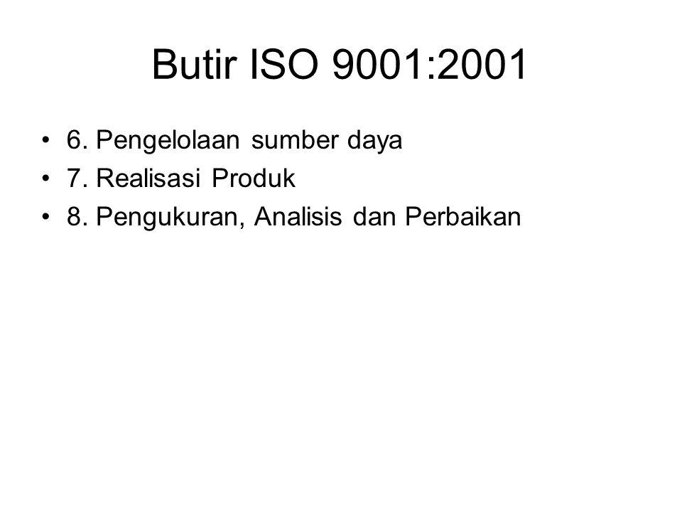 Butir ISO 9001:2001 6. Pengelolaan sumber daya 7. Realisasi Produk 8. Pengukuran, Analisis dan Perbaikan