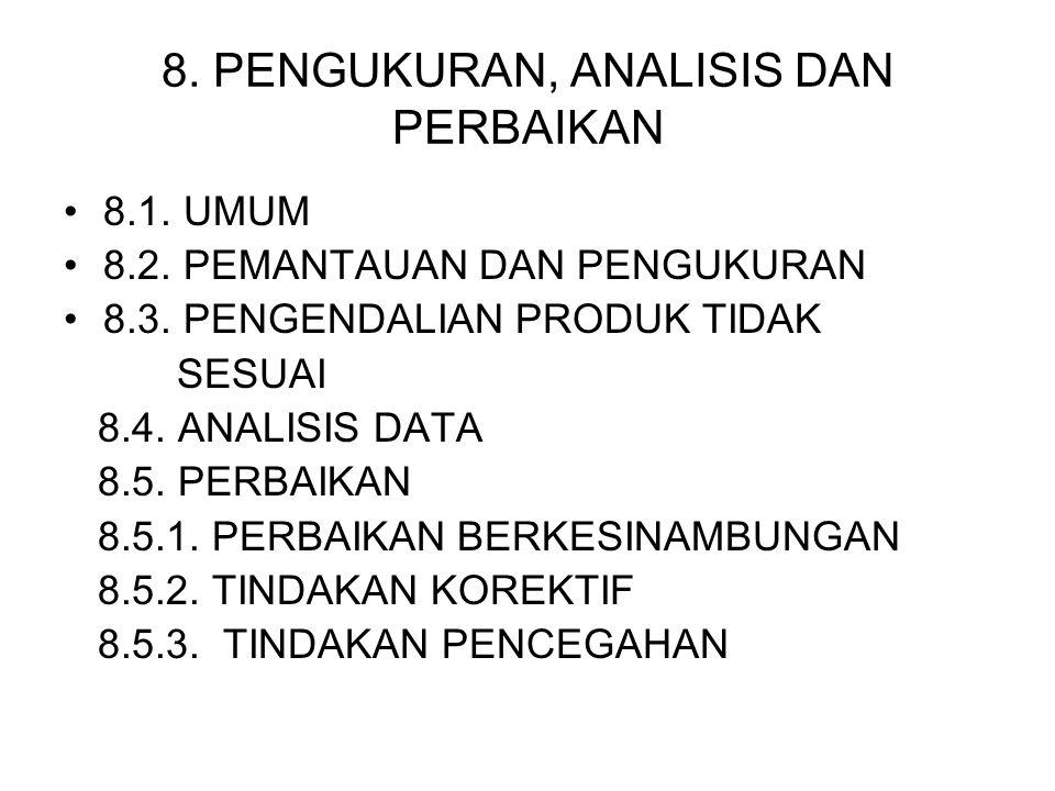8. PENGUKURAN, ANALISIS DAN PERBAIKAN 8.1. UMUM 8.2. PEMANTAUAN DAN PENGUKURAN 8.3. PENGENDALIAN PRODUK TIDAK SESUAI 8.4. ANALISIS DATA 8.5. PERBAIKAN