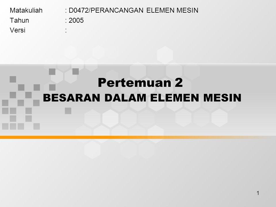 1 Pertemuan 2 BESARAN DALAM ELEMEN MESIN Matakuliah: D0472/PERANCANGAN ELEMEN MESIN Tahun: 2005 Versi: