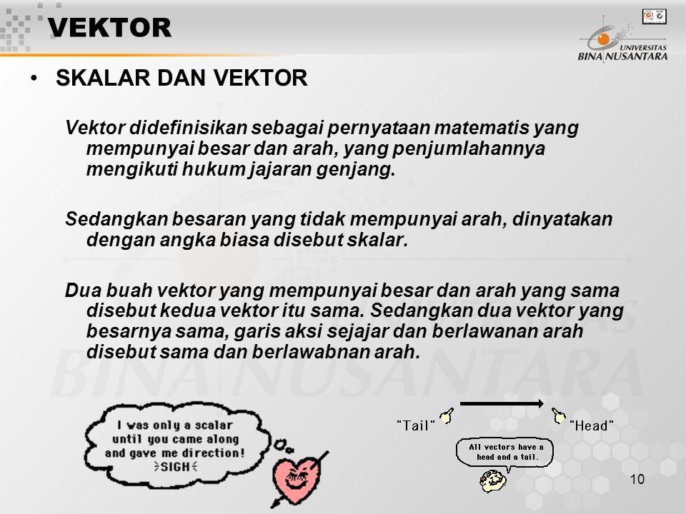 10 VEKTOR SKALAR DAN VEKTOR Vektor didefinisikan sebagai pernyataan matematis yang mempunyai besar dan arah, yang penjumlahannya mengikuti hukum jajar