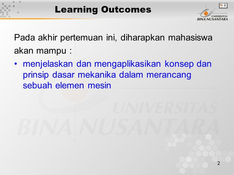 2 Learning Outcomes Pada akhir pertemuan ini, diharapkan mahasiswa akan mampu : menjelaskan dan mengaplikasikan konsep dan prinsip dasar mekanika dala