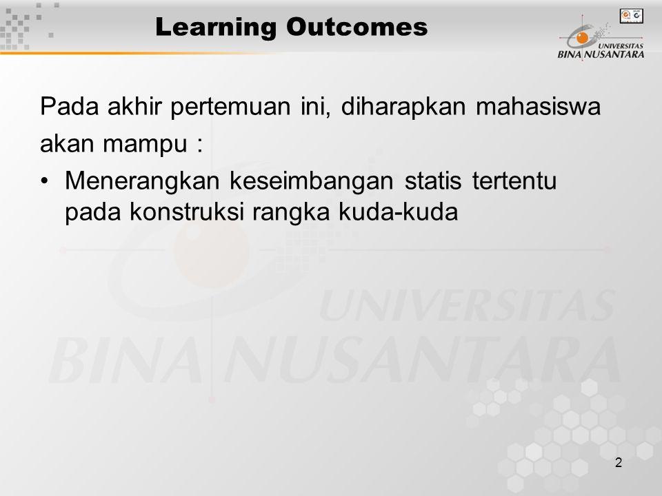2 Learning Outcomes Pada akhir pertemuan ini, diharapkan mahasiswa akan mampu : Menerangkan keseimbangan statis tertentu pada konstruksi rangka kuda-k