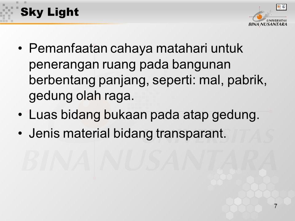 7 Sky Light Pemanfaatan cahaya matahari untuk penerangan ruang pada bangunan berbentang panjang, seperti: mal, pabrik, gedung olah raga.