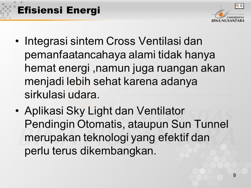 9 Efisiensi Energi Integrasi sintem Cross Ventilasi dan pemanfaatancahaya alami tidak hanya hemat energi,namun juga ruangan akan menjadi lebih sehat karena adanya sirkulasi udara.
