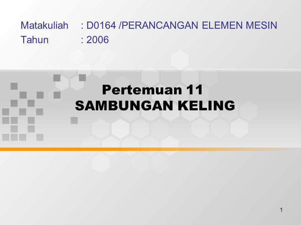 1 Pertemuan 11 SAMBUNGAN KELING Matakuliah: D0164 /PERANCANGAN ELEMEN MESIN Tahun: 2006