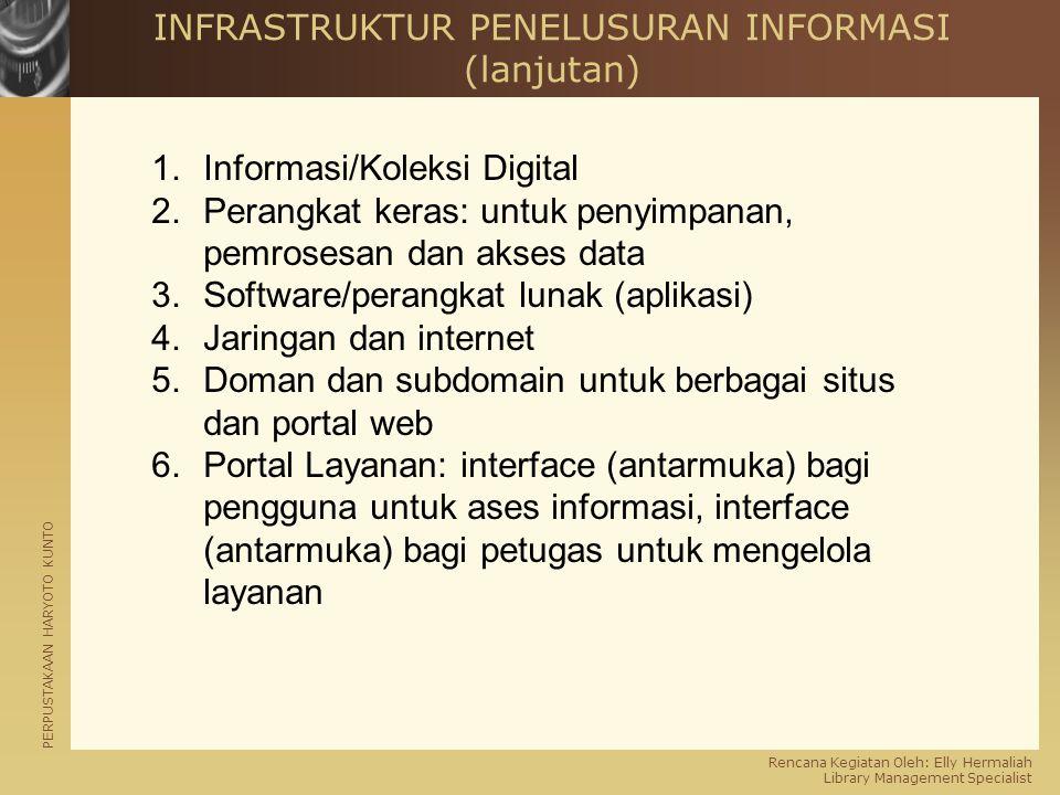 PERPUSTAKAAN HARYOTO KUNTO Rencana Kegiatan Oleh: Elly Hermaliah Library Management Specialist INFRASTRUKTUR PENELUSURAN INFORMASI (lanjutan) 1.Inform