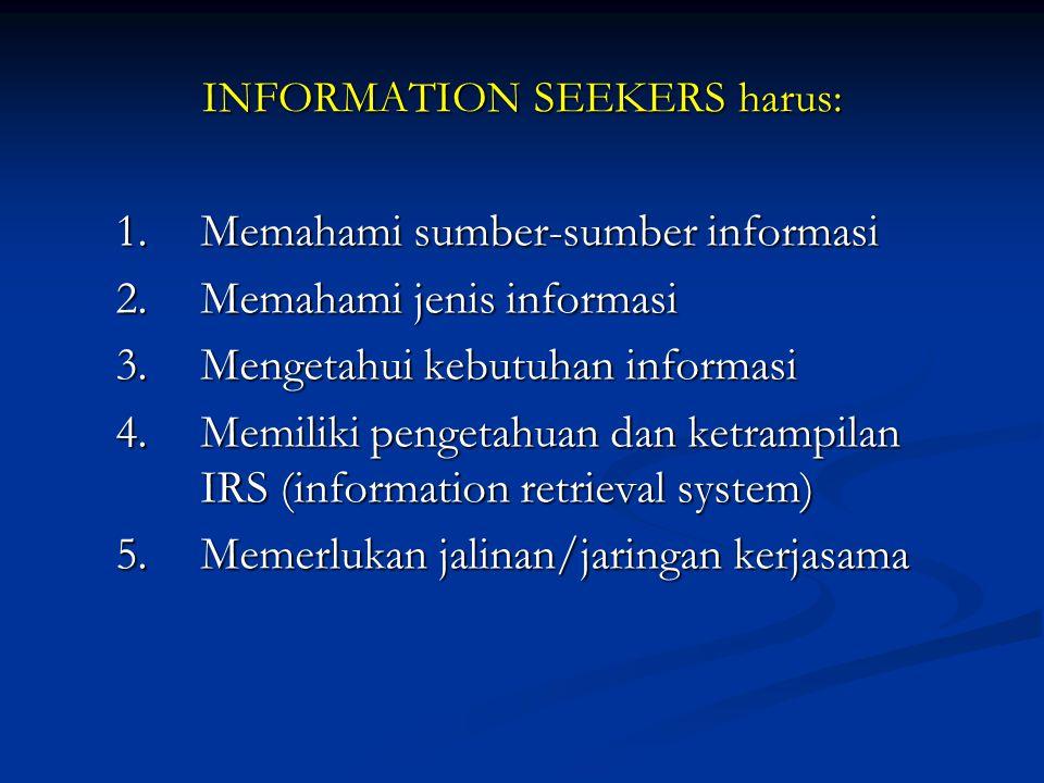 INFORMATION SEEKERS harus: 1.Memahami sumber-sumber informasi 2.Memahami jenis informasi 3.Mengetahui kebutuhan informasi 4.Memiliki pengetahuan dan k