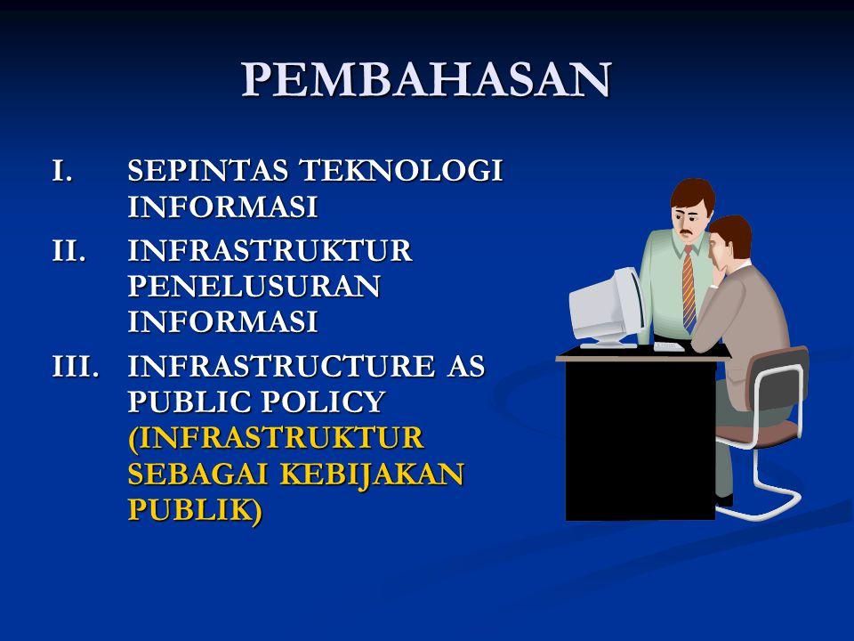 PEMBAHASAN I.SEPINTAS TEKNOLOGI INFORMASI II.INFRASTRUKTUR PENELUSURAN INFORMASI III.INFRASTRUCTURE AS PUBLIC POLICY (INFRASTRUKTUR SEBAGAI KEBIJAKAN