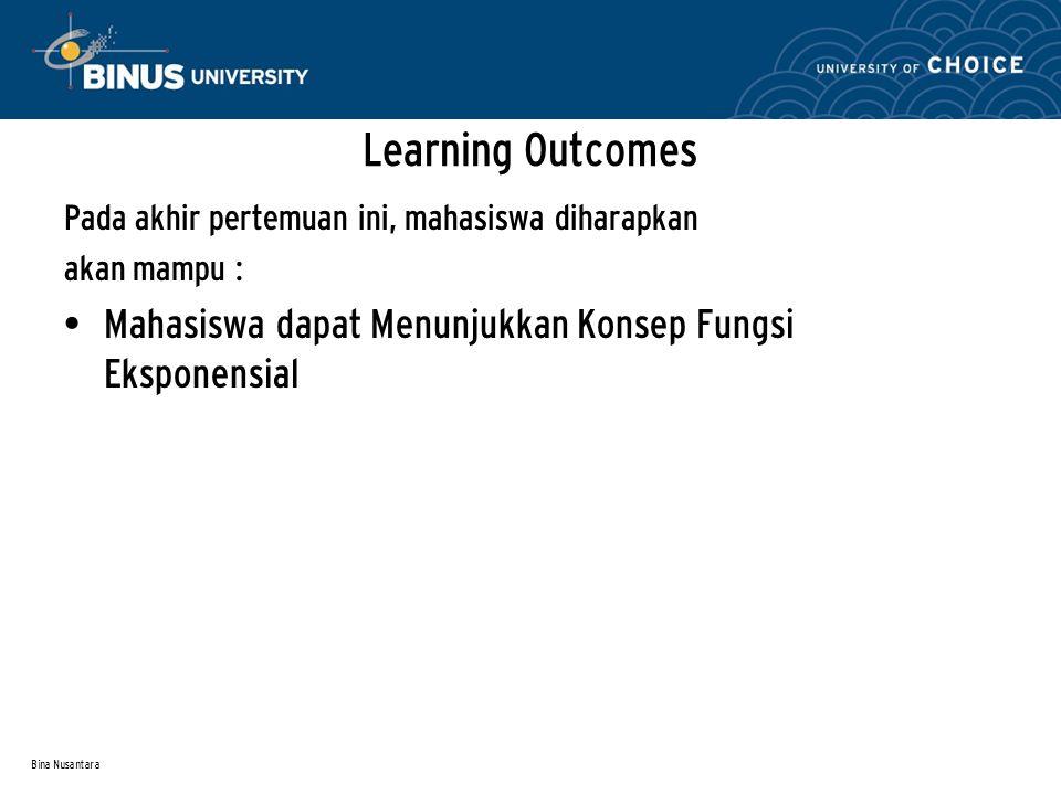 Bina Nusantara Pada akhir pertemuan ini, mahasiswa diharapkan akan mampu : Mahasiswa dapat Menunjukkan Konsep Fungsi Eksponensial Learning Outcomes