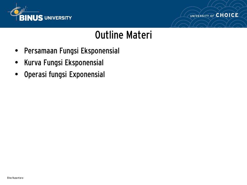 Bina Nusantara Outline Materi Persamaan Fungsi Eksponensial Kurva Fungsi Eksponensial Operasi fungsi Exponensial