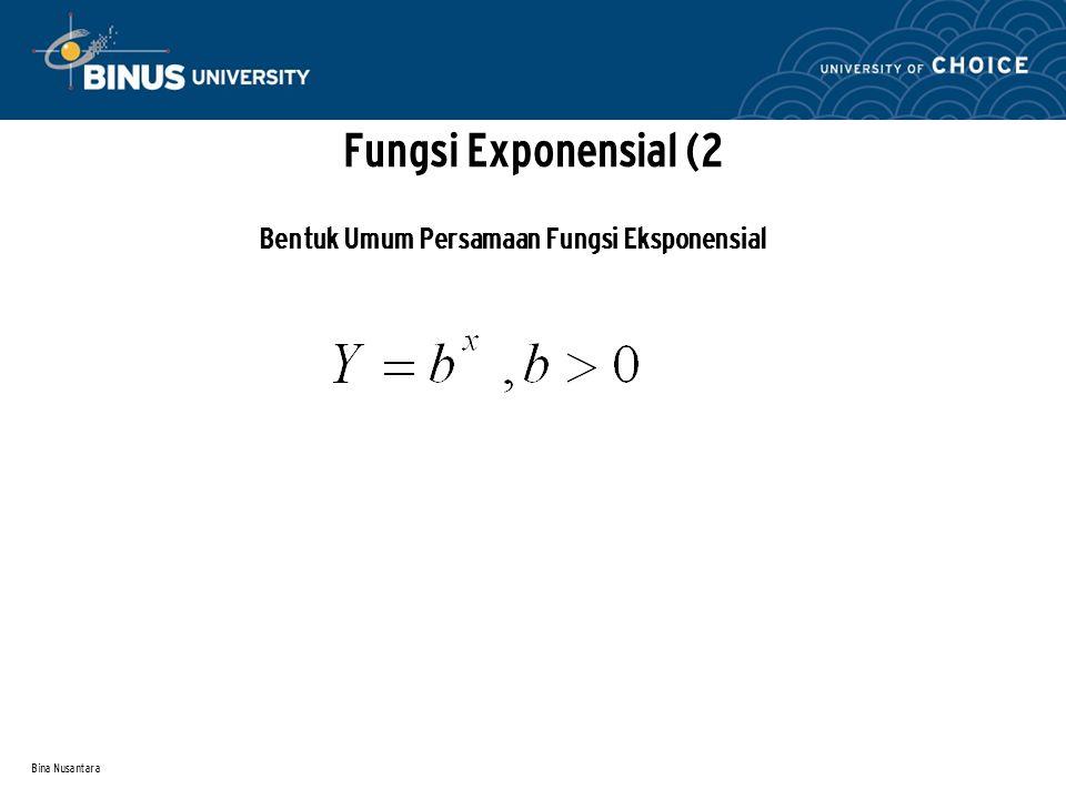 Bina Nusantara Fungsi Exponensial (2 Bentuk Umum Persamaan Fungsi Eksponensial