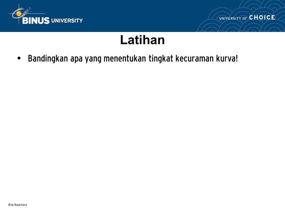 Bina Nusantara Bandingkan apa yang menentukan tingkat kecuraman kurva! Latihan