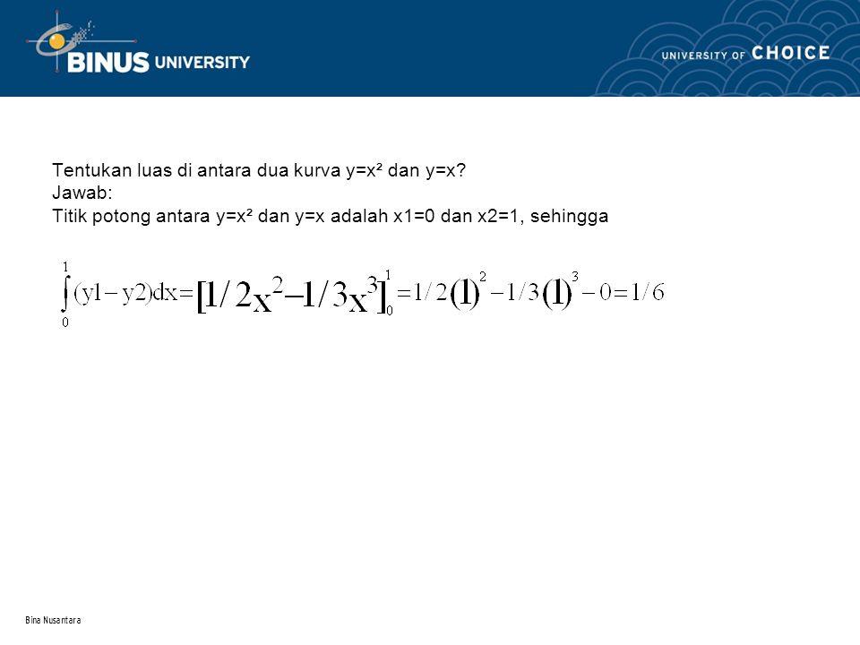Bina Nusantara Contoh-contoh 1.Bila diketahui dengan batas x = 0 dan x = 2, tentukan luas daerah di bawah kurva tersebut, j awab :