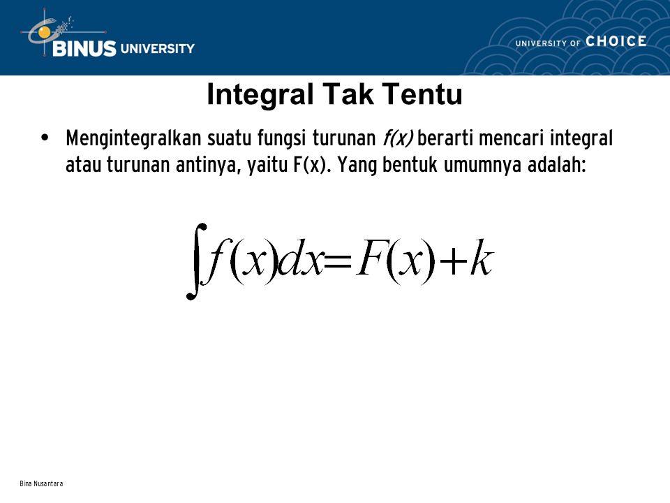 Bina Nusantara Integral tak tentu adalah kebalikan dari diferensial, yakni suatu konsep yang berhubungan dgn proses penemuan suatu fungsi asal apabila turunan atau derivatif dari fungsinya diketahui.