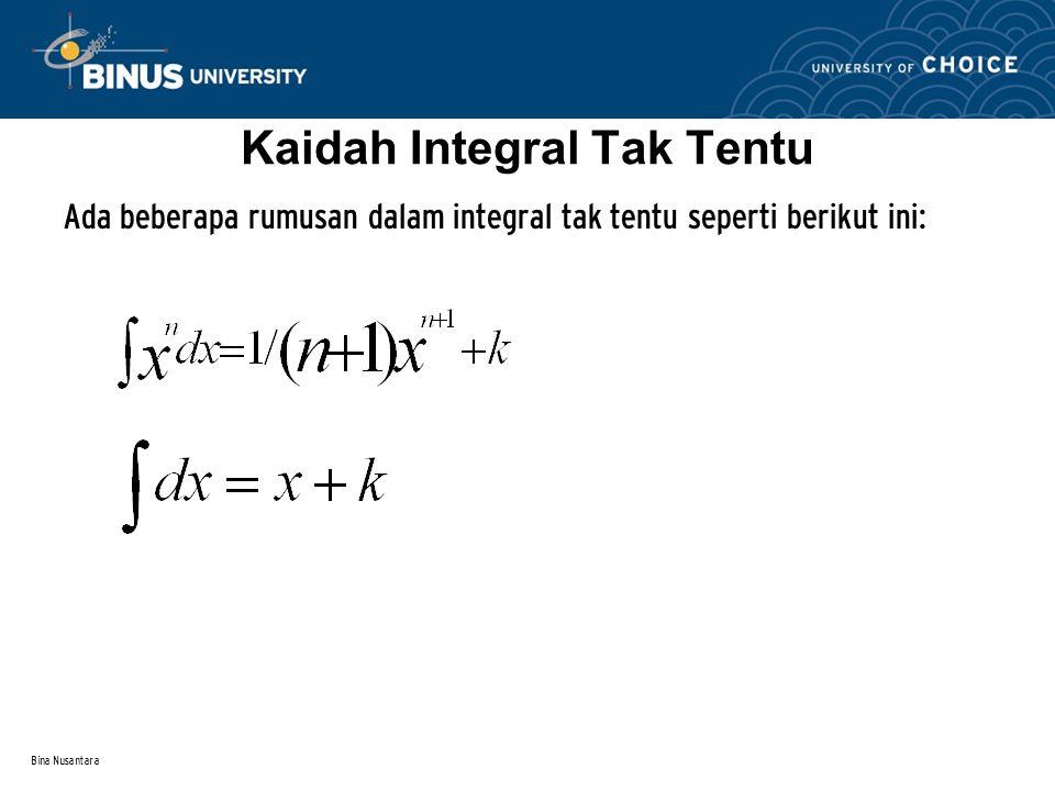 Bina Nusantara Integral Tak Tentu Mengintegralkan suatu fungsi turunan f(x) berarti mencari integral atau turunan antinya, yaitu F(x).