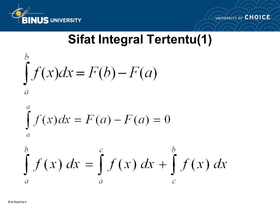 Bina Nusantara Integral Tertentu Integral tertentu adalah integral dari suatu fungsi yang nilai-nilai variable bebasnya memiliki batas-batas tertentu x = a (batas bawah) dan x = b (batas atas) dan digunakan untuk menentukan luas daerah di bawah kurva dan antar dua kurva Jadi, luas daerah di bawah kurva dari suatu fungsi dengan batas bawah = a dan batas atas = b adalah F(b) - F(a) (integral dari suatu fungsi dengan nilai batas atas = b dikurangi integral dari fungsi yang sama dengan batas bawah = a)