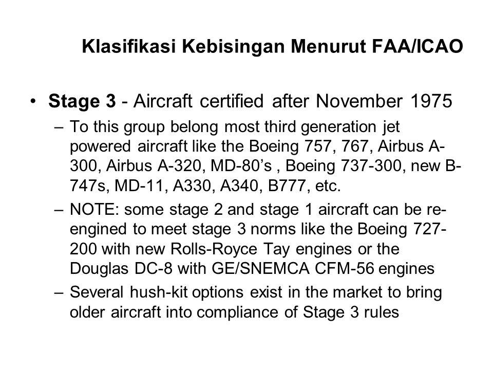 Klasifikasi Kebisingan Menurut FAA/ICAO Stage 3 - Aircraft certified after November 1975 –To this group belong most third generation jet powered aircr