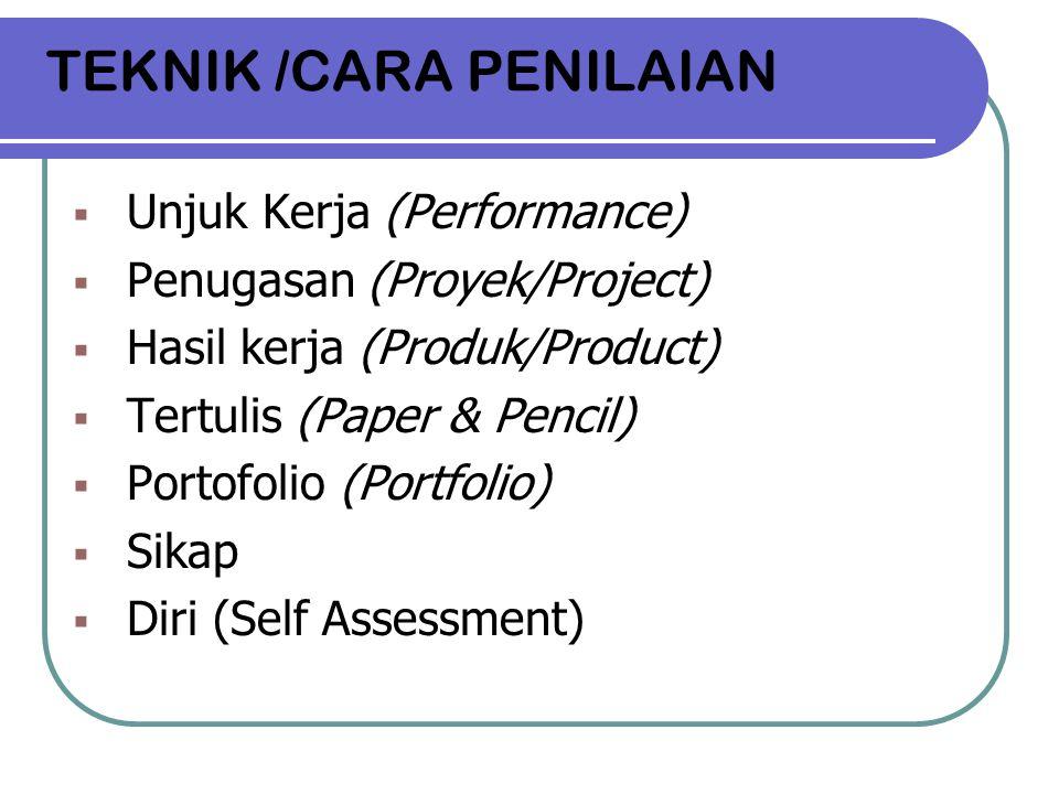 TEKNIK /CARA PENILAIAN  Unjuk Kerja (Performance)  Penugasan (Proyek/Project)  Hasil kerja (Produk/Product)  Tertulis (Paper & Pencil)  Portofoli