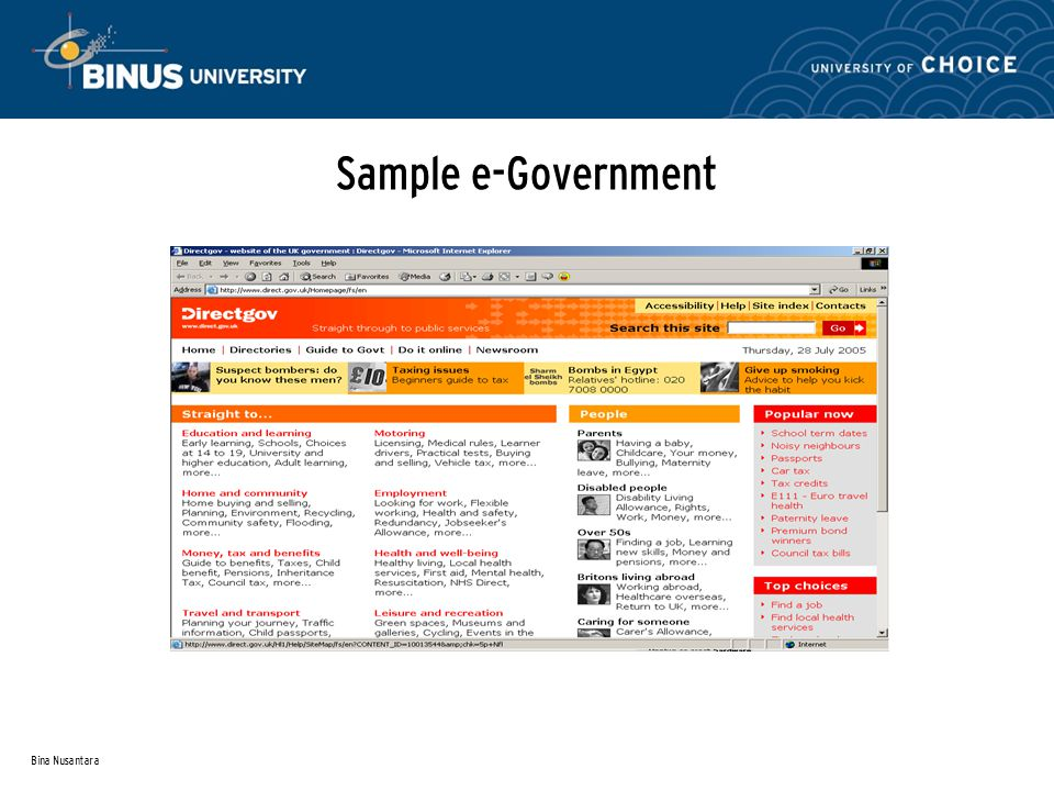 Bina Nusantara Sample e-Government