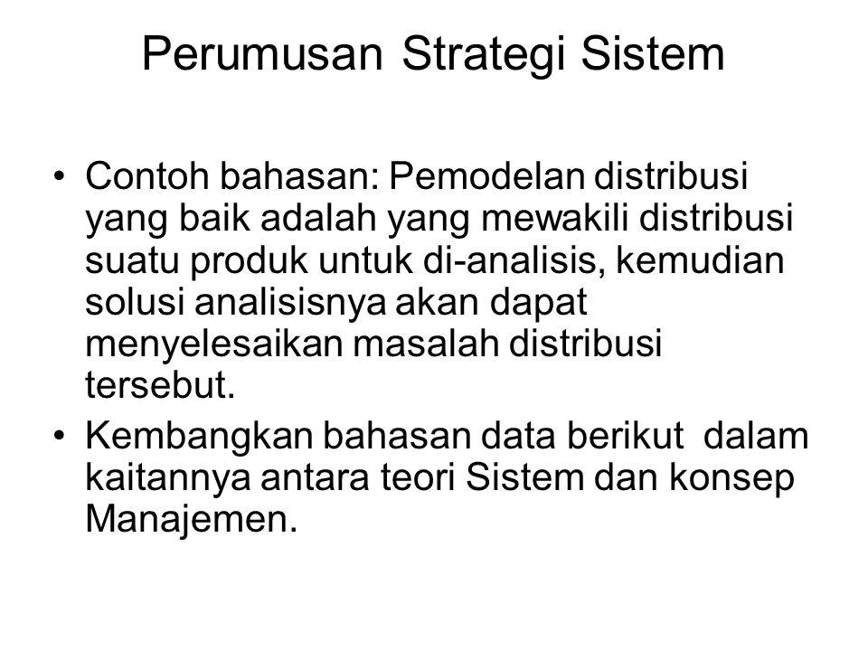 Perumusan Strategi Sistem Contoh bahasan: Pemodelan distribusi yang baik adalah yang mewakili distribusi suatu produk untuk di-analisis, kemudian solusi analisisnya akan dapat menyelesaikan masalah distribusi tersebut.