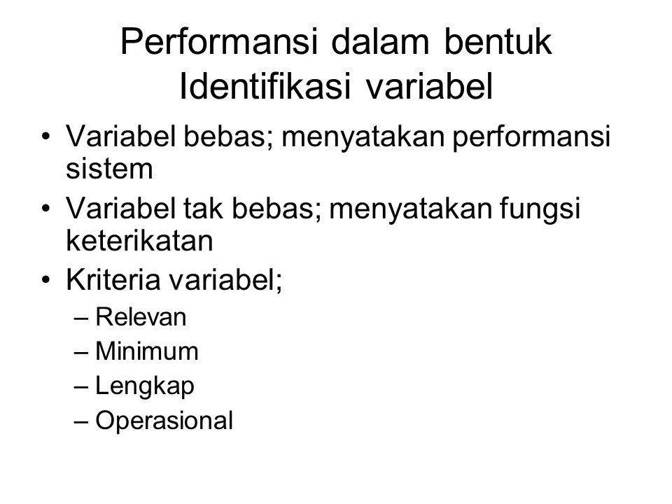 Performansi dalam bentuk Identifikasi variabel Variabel bebas; menyatakan performansi sistem Variabel tak bebas; menyatakan fungsi keterikatan Kriteri