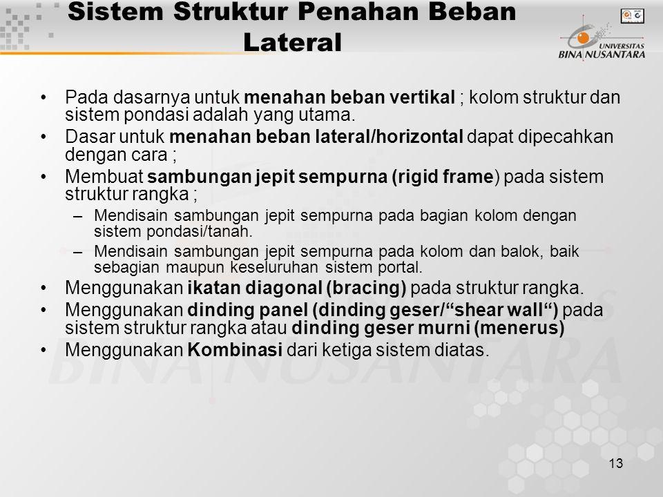 13 Sistem Struktur Penahan Beban Lateral Pada dasarnya untuk menahan beban vertikal ; kolom struktur dan sistem pondasi adalah yang utama.