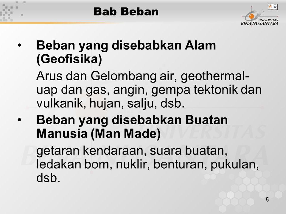 5 Bab Beban Beban yang disebabkan Alam (Geofisika) Arus dan Gelombang air, geothermal- uap dan gas, angin, gempa tektonik dan vulkanik, hujan, salju, dsb.