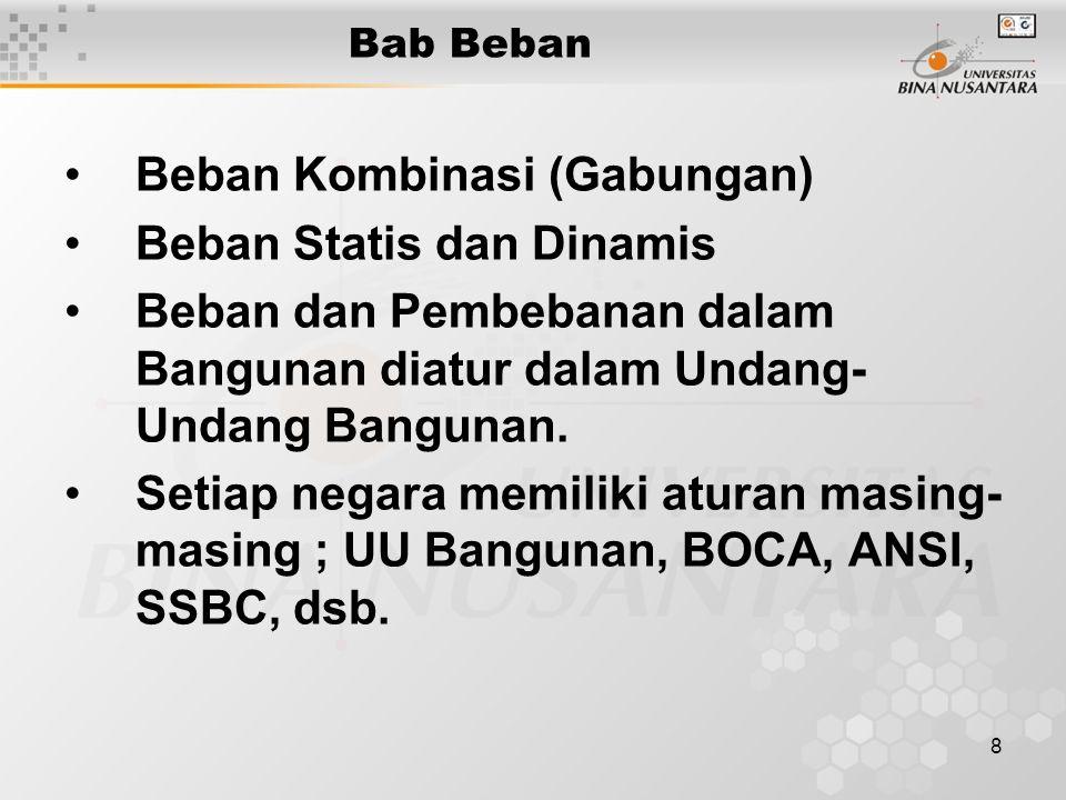 8 Bab Beban Beban Kombinasi (Gabungan) Beban Statis dan Dinamis Beban dan Pembebanan dalam Bangunan diatur dalam Undang- Undang Bangunan.