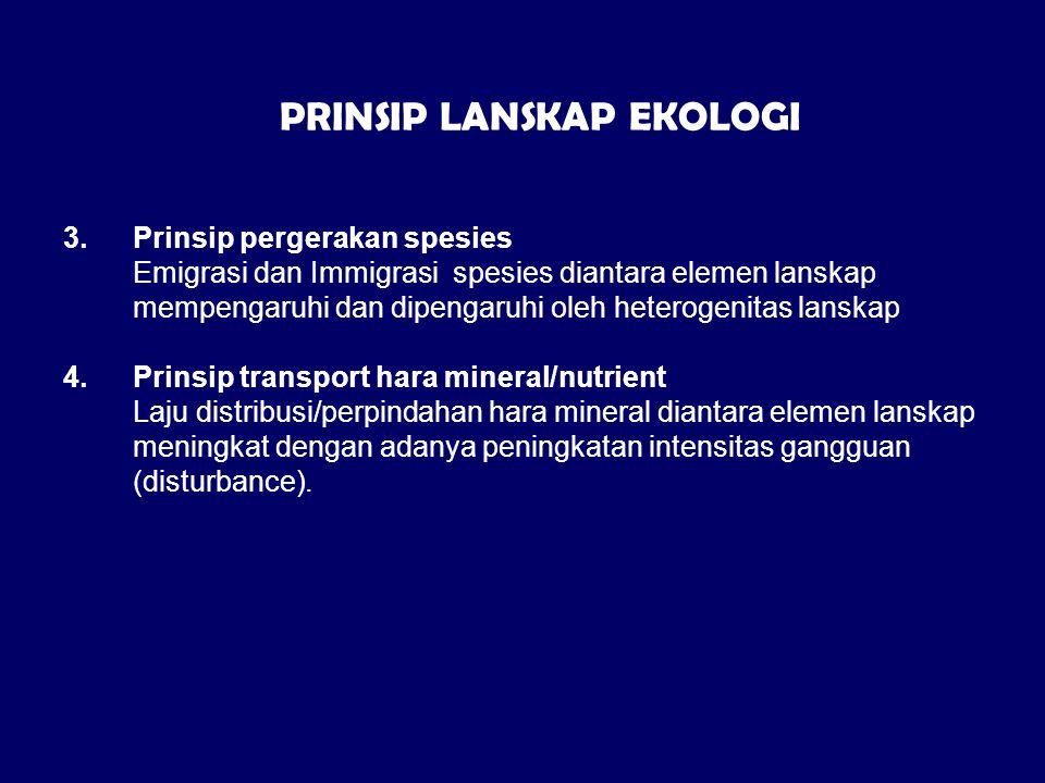 3.Prinsip pergerakan spesies Emigrasi dan Immigrasi spesies diantara elemen lanskap mempengaruhi dan dipengaruhi oleh heterogenitas lanskap 4.Prinsip