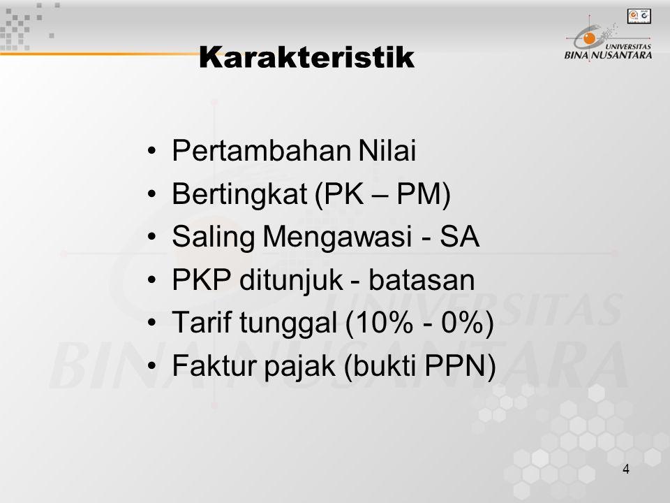 4 Karakteristik Pertambahan Nilai Bertingkat (PK – PM) Saling Mengawasi - SA PKP ditunjuk - batasan Tarif tunggal (10% - 0%) Faktur pajak (bukti PPN)